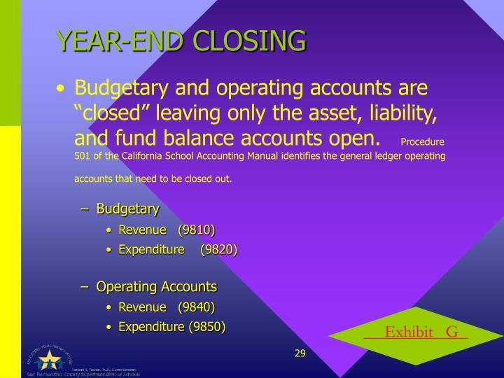 YEAR-END CLOSING