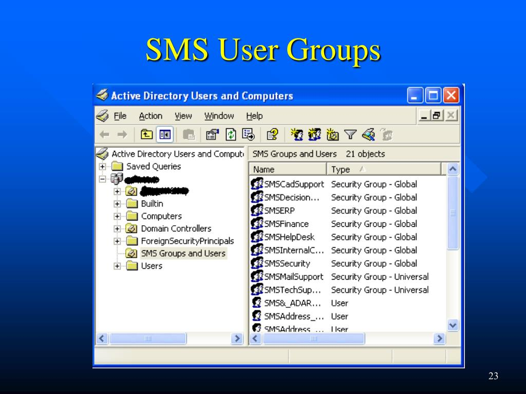 SMS User Groups