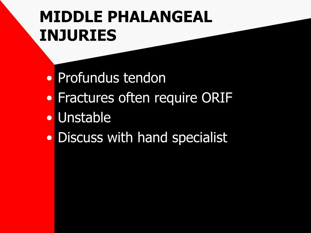 MIDDLE PHALANGEAL INJURIES