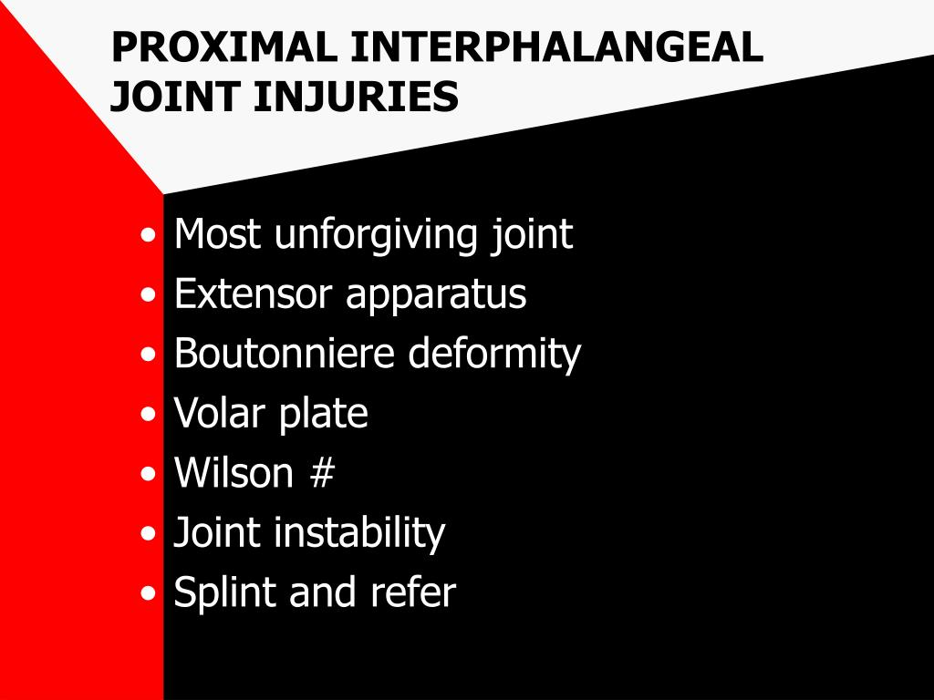 PROXIMAL INTERPHALANGEAL JOINT INJURIES
