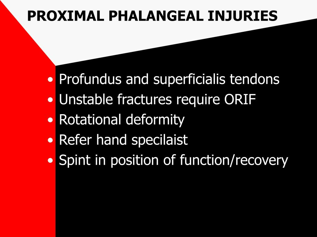 PROXIMAL PHALANGEAL INJURIES