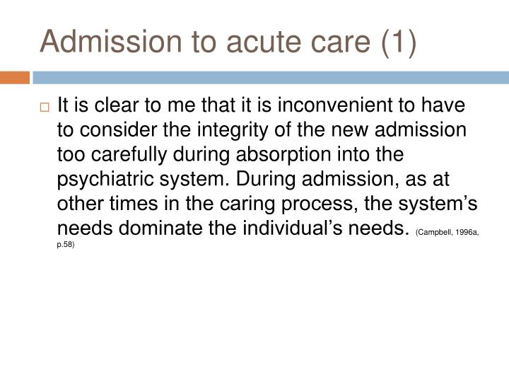 Admission to acute care (1)