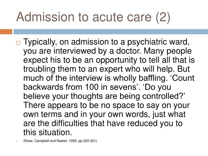 Admission to acute care (2)