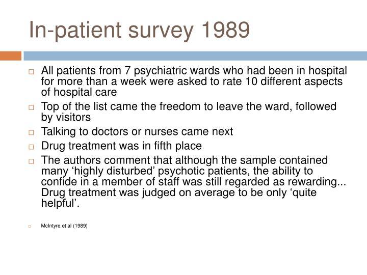 In-patient survey 1989