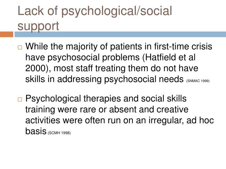 Lack of psychological/social support