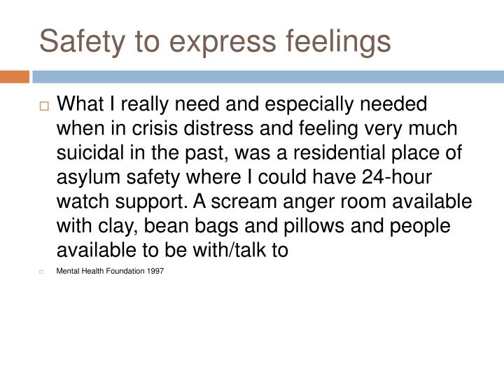 Safety to express feelings