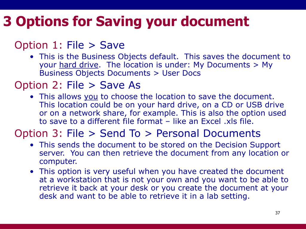 3 Options for Saving your document