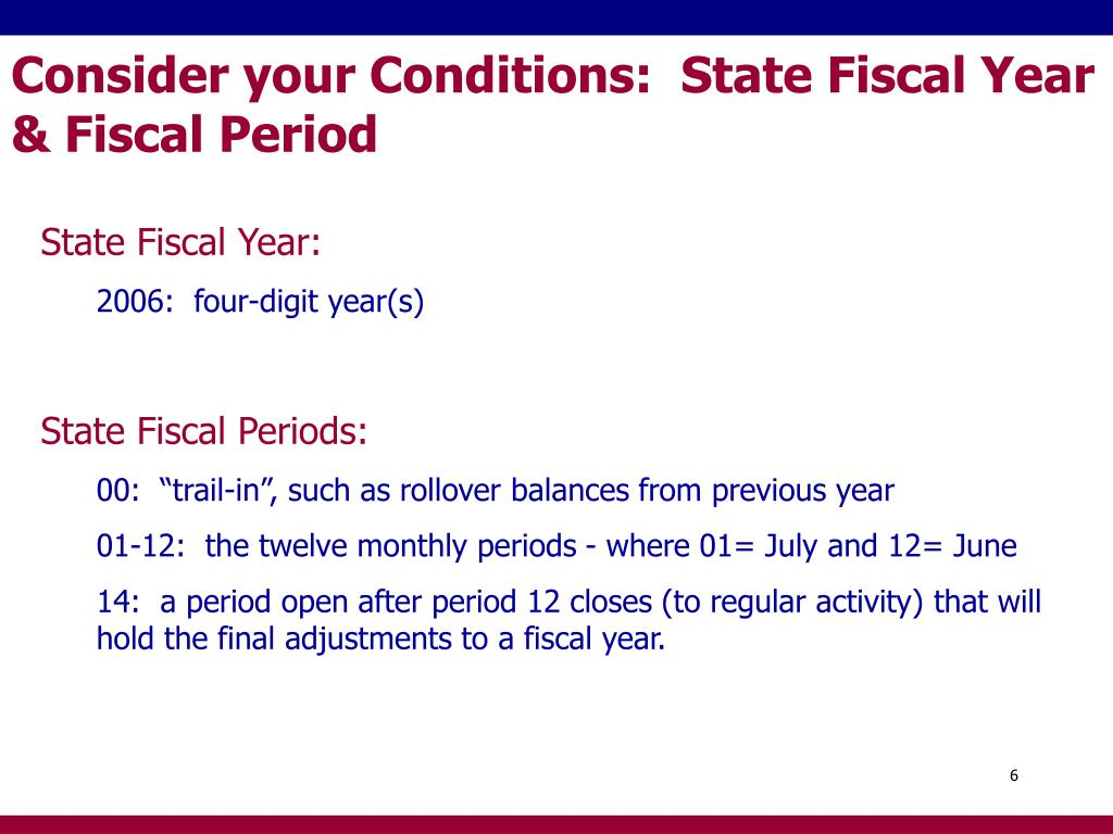 Consider your Conditions:  State Fiscal Year & Fiscal Period