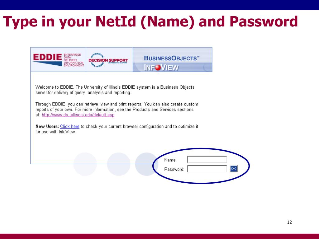 Type in your NetId (Name) and Password
