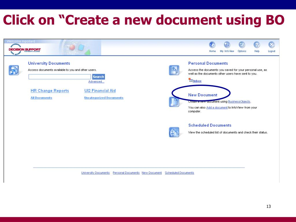 "Click on ""Create a new document using BO"
