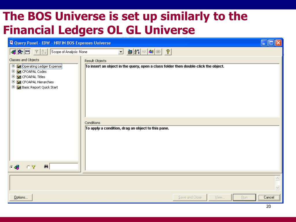 The BOS Universe is set up similarly to the Financial Ledgers OL GL Universe