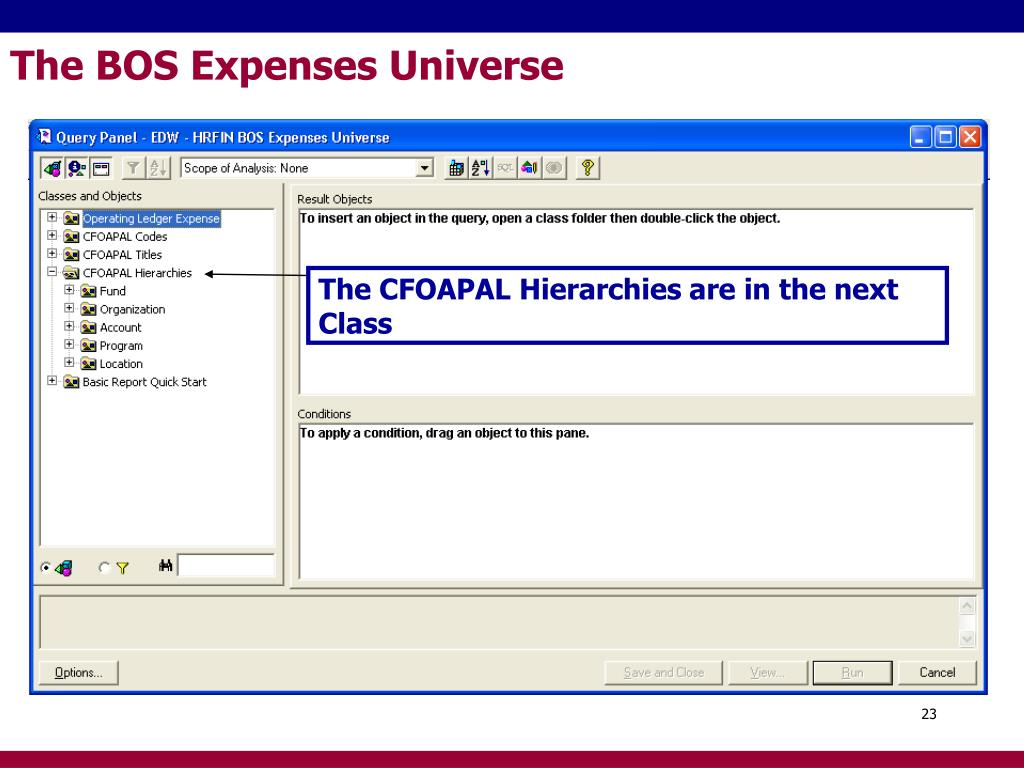 The BOS Expenses Universe