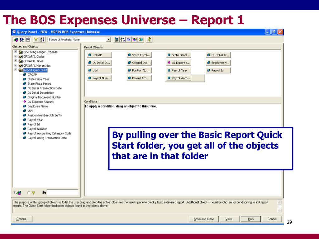 The BOS Expenses Universe – Report 1
