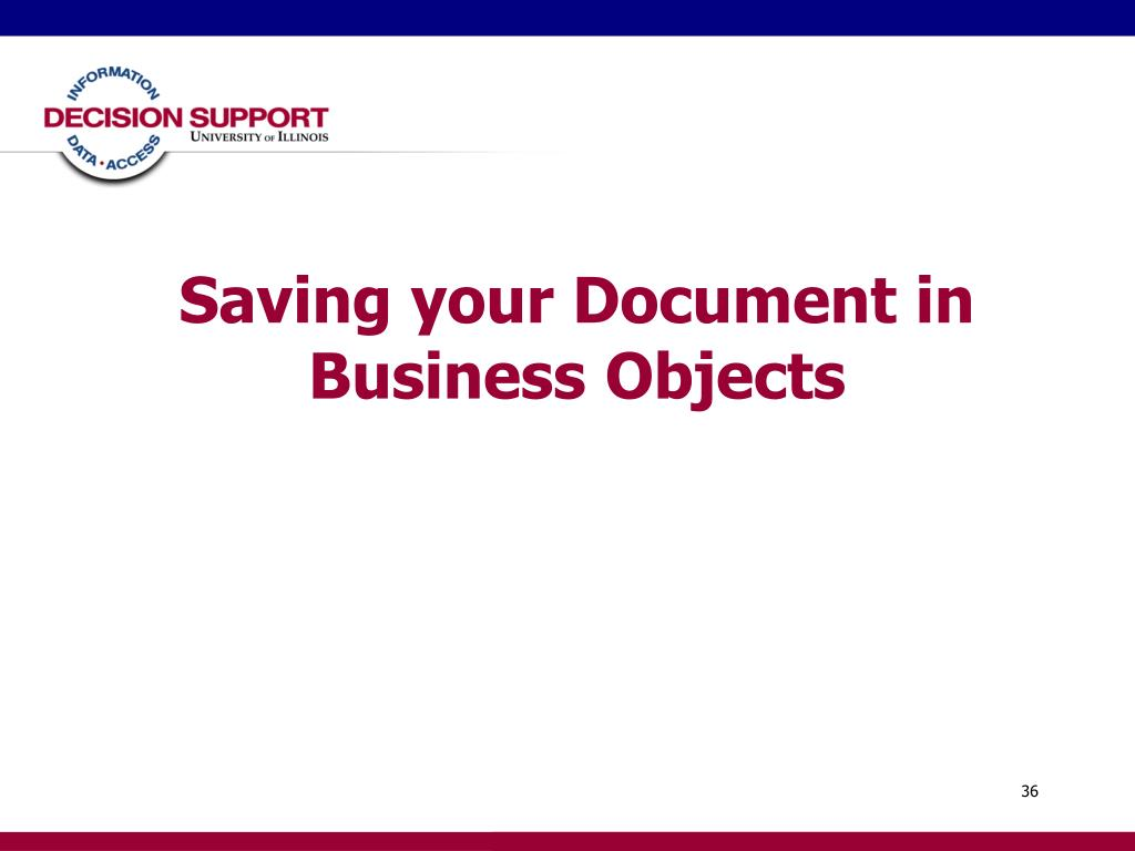 Saving your Document in Business Objects