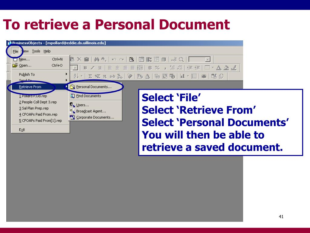 To retrieve a Personal Document
