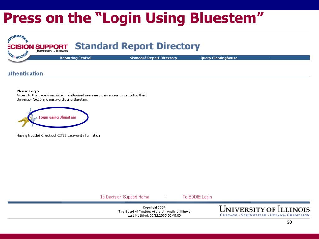 "Press on the ""Login Using Bluestem"""
