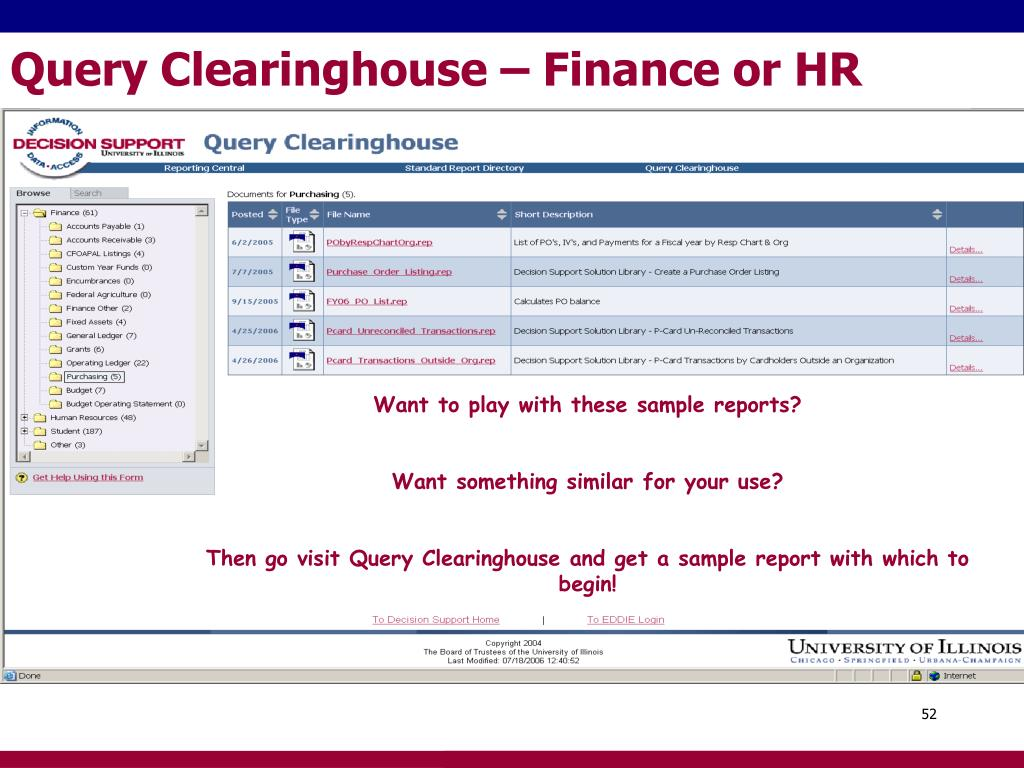 Query Clearinghouse – Finance or HR