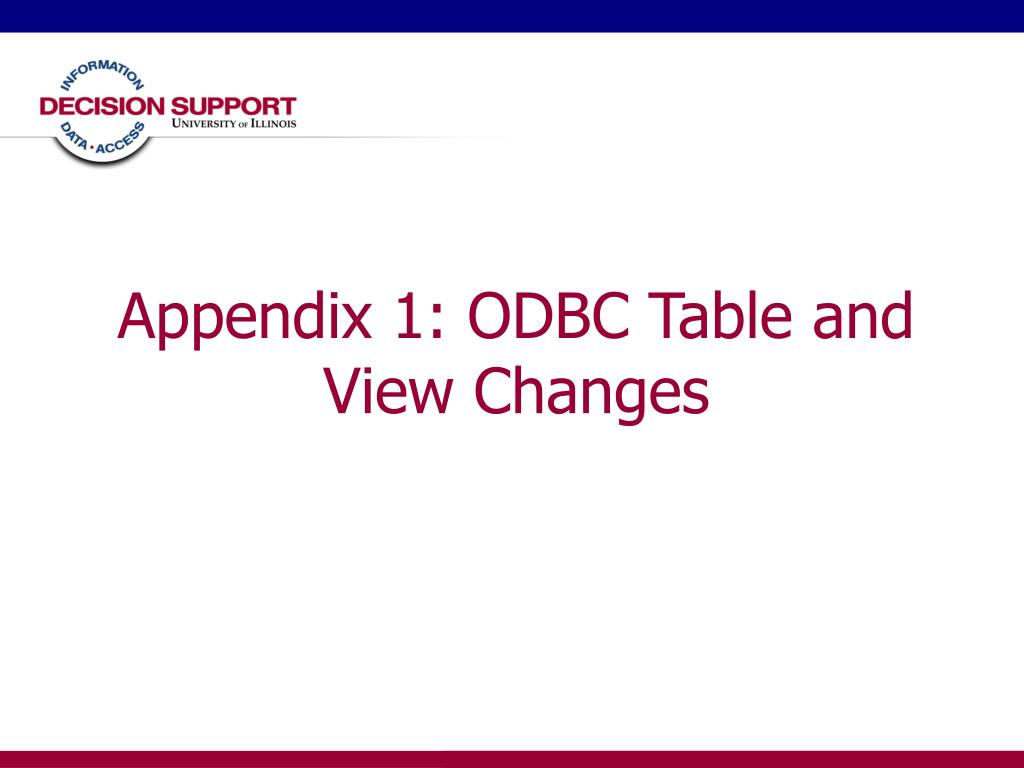 Appendix 1: ODBC Table and View Changes