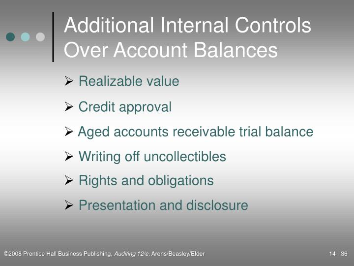 Additional Internal Controls Over Account Balances