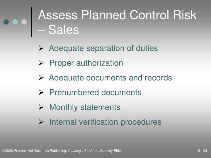Assess Planned Control Risk – Sales