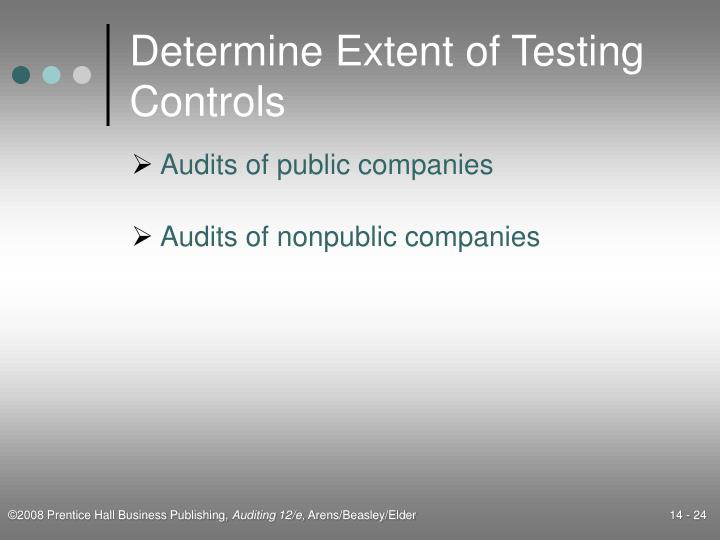 Determine Extent of Testing Controls