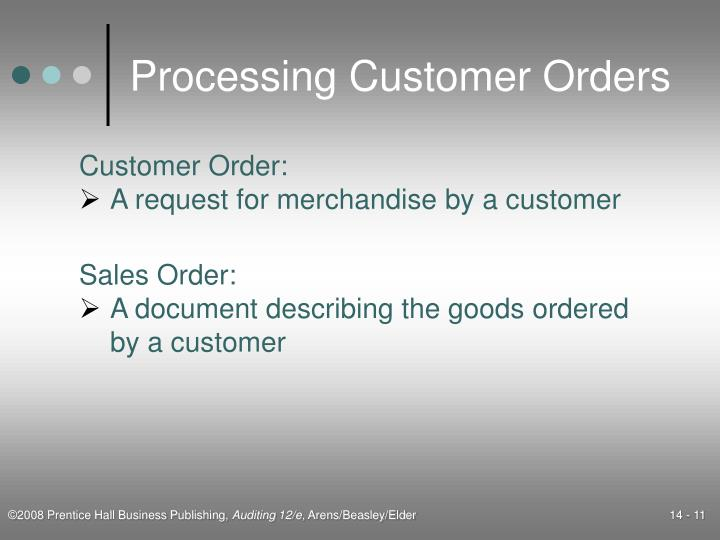 Processing Customer Orders