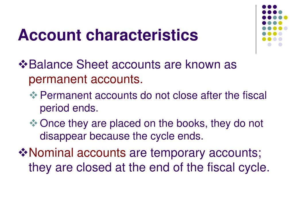 Account characteristics