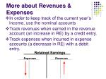 more about revenues expenses21