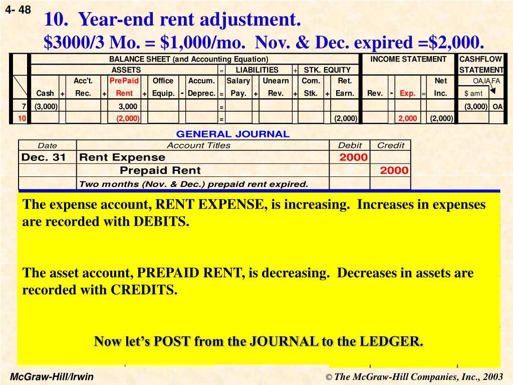 10.  Year-end rent adjustment.