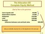 the allocation ee complete equity method