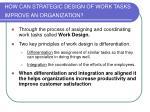 how can strategic design of work tasks improve an organization