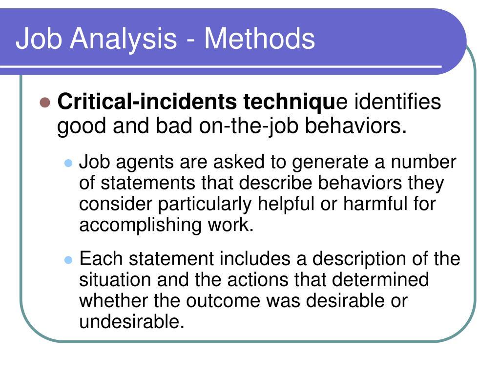 Job Analysis - Methods