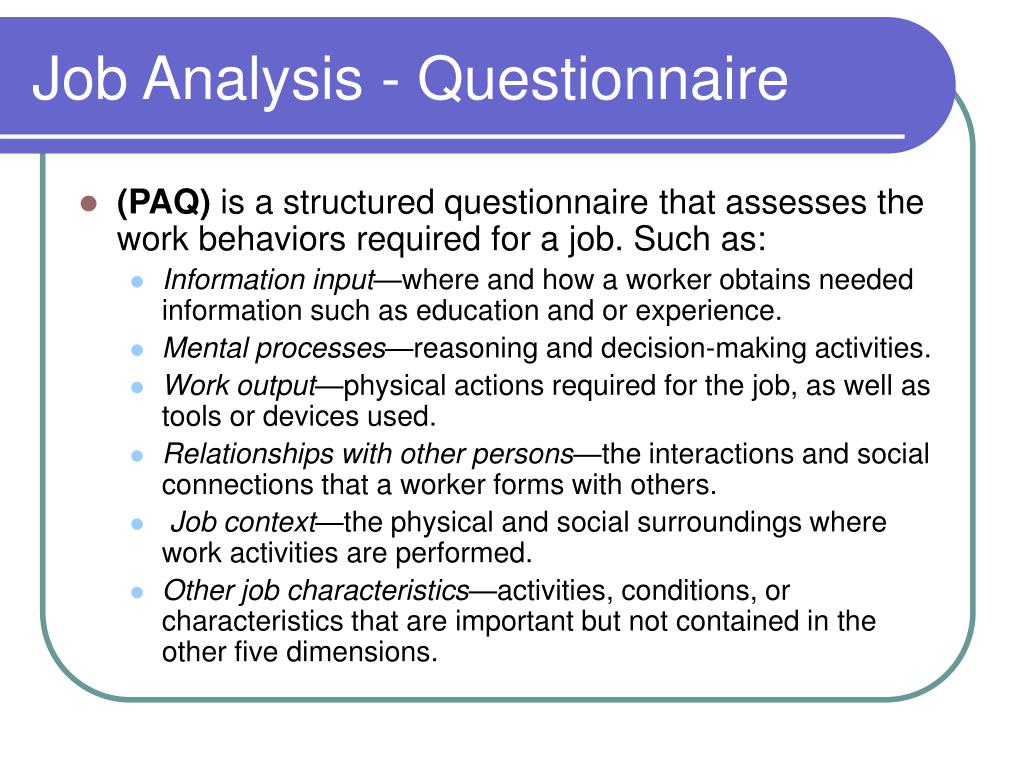 Job Analysis - Questionnaire
