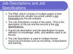 job descriptions and job specifications