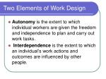 two elements of work design