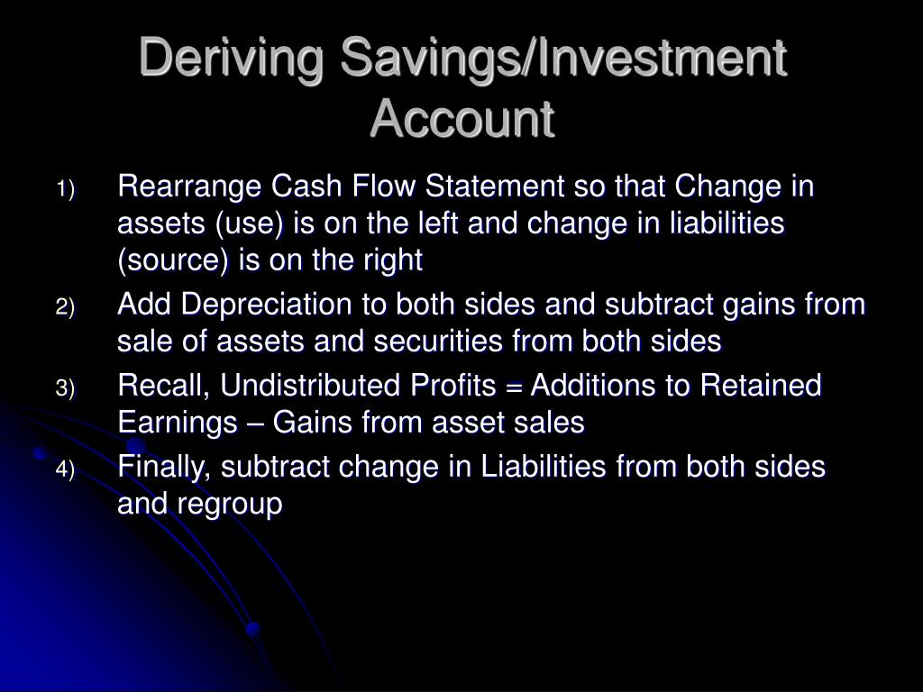 Deriving Savings/Investment Account