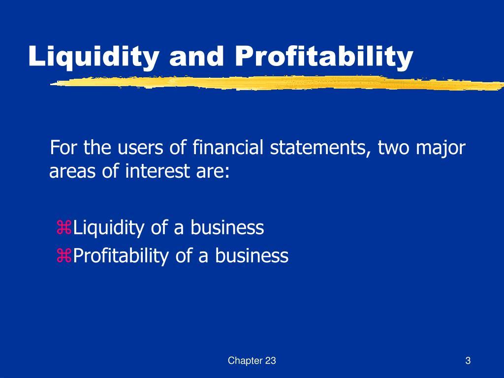 Liquidity and Profitability