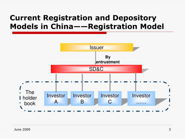 Current registration and depository models in china registration model