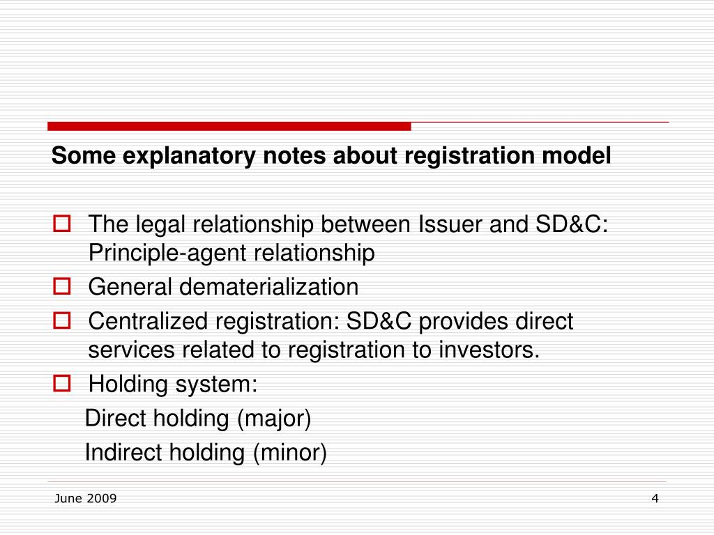 Some explanatory notes about registration model