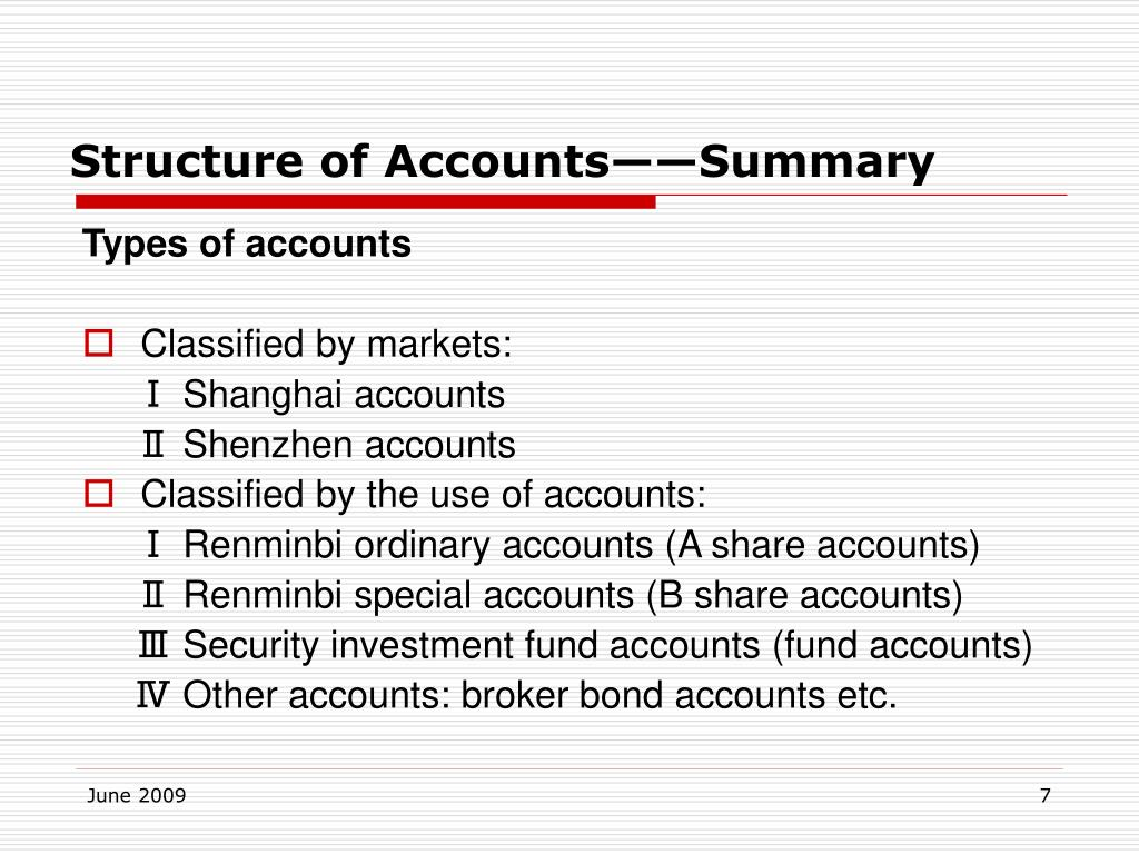 Structure of Accounts——Summary