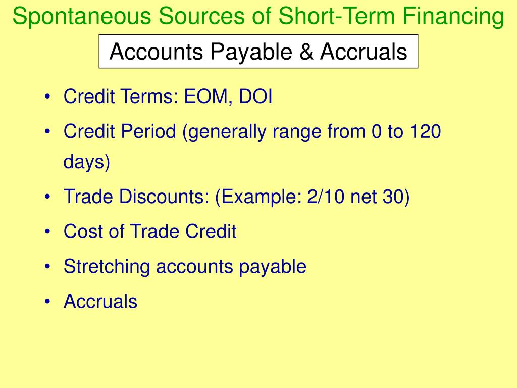 Spontaneous Sources of Short-Term Financing