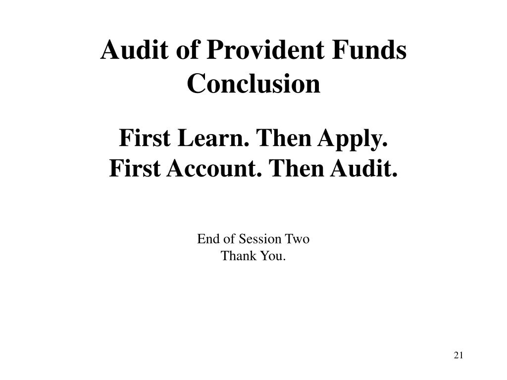 Audit of Provident Funds