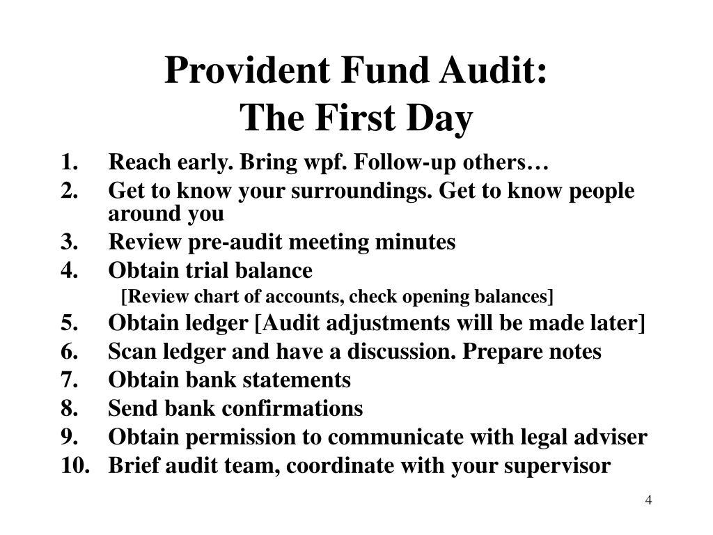 Provident Fund Audit: