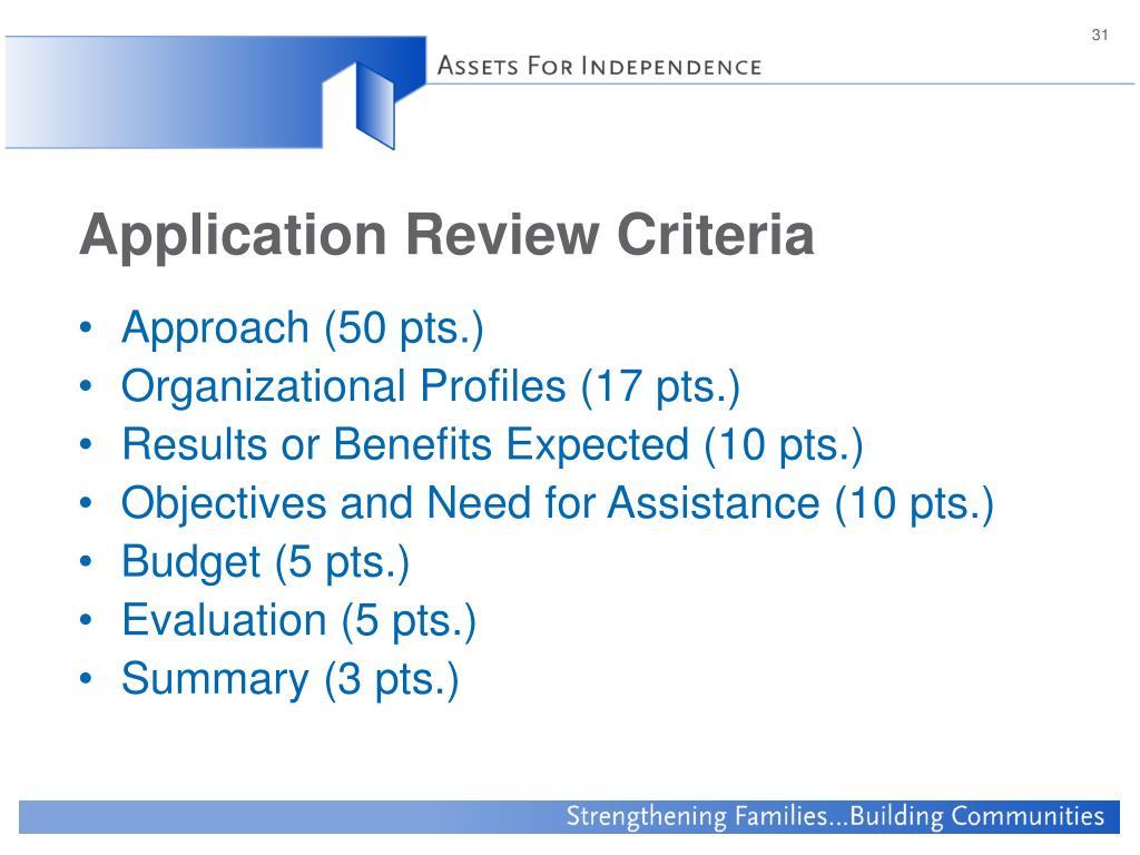 Application Review Criteria