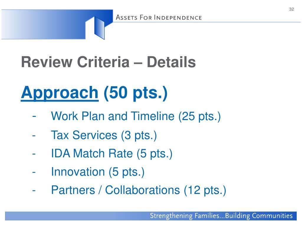 Review Criteria – Details