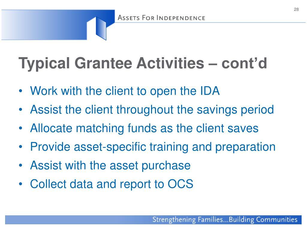 Typical Grantee Activities – cont'd