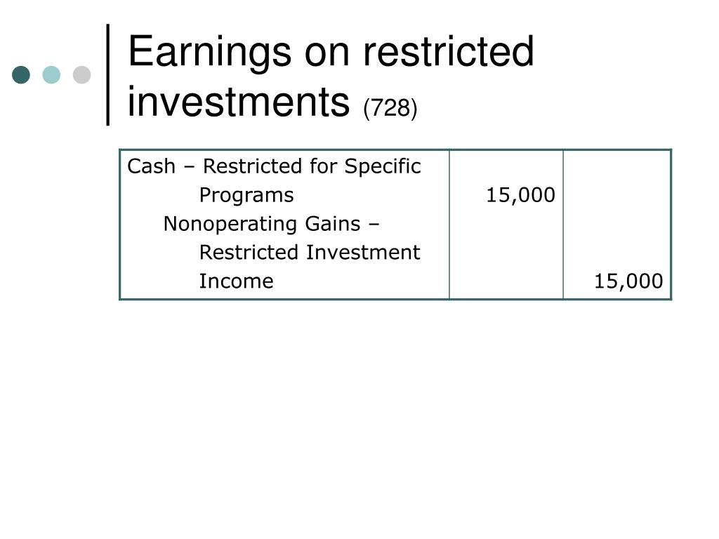 Earnings on restricted investments