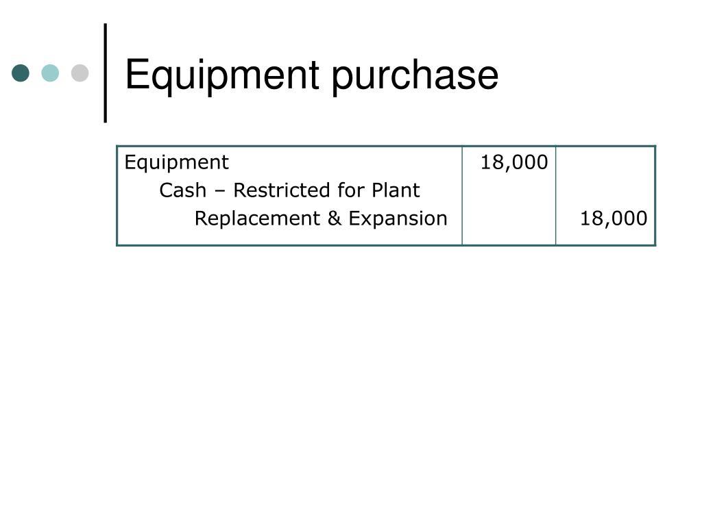 Equipment purchase