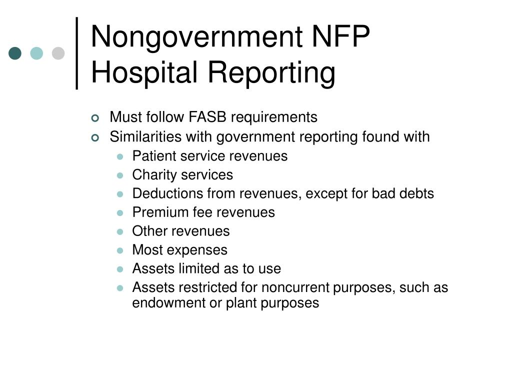 Nongovernment NFP Hospital Reporting