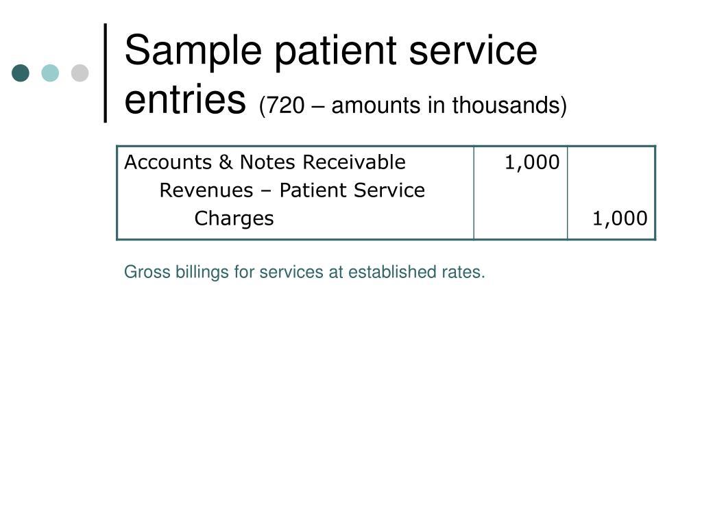 Sample patient service entries